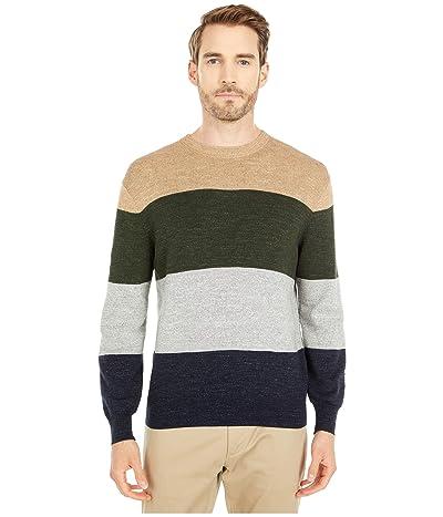J.Crew Rugged Cotton Sweater (Stripe Heather Twig) Men