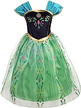 OBEEII Princesse D/éguisement Reine des Neiges/Fille Cosplay Costume Enfant Robe de Carnaval Soir/ée Halloween F/êtes No/ël Anniversaire C/ér/émonie 4-14 Ans