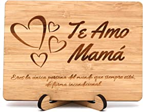 Zuaart Mothers Day hanmade greeting card Te Amo Mama wooden bamboo in spanish - Eres la unica persona del mundo, que siempre está de forma incondicional- Mother's Day gifts Madre anniversary