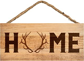 P. Graham Dunn Home Deer Antlers Natural 10 x 4.5 Wood Wall Hanging Plaque Sign