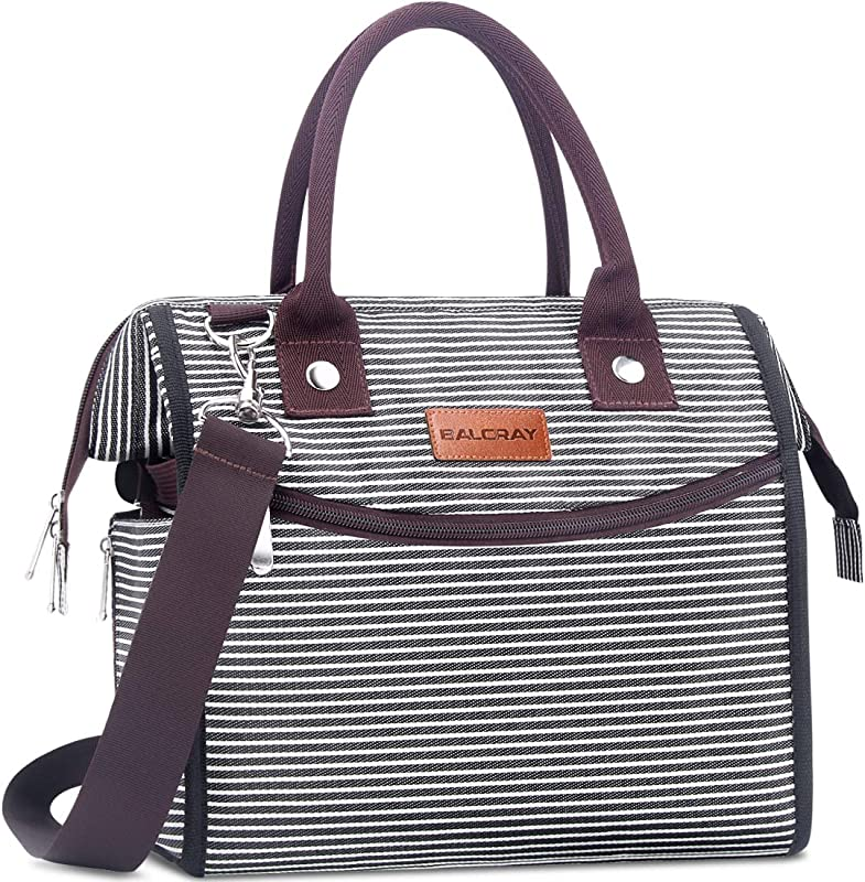BALORAY Leak Proof Insulated Lunch Bag For Women With Shoulder Strap Wide Open Lunch Cooler Bag Lunch Women Lunch Bag Perfect For Work Picnic Black White Strap