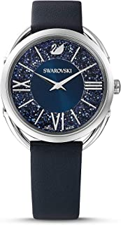 Women's Crystalline Glam Watch, Leather Strap, Blue, Stainless steel