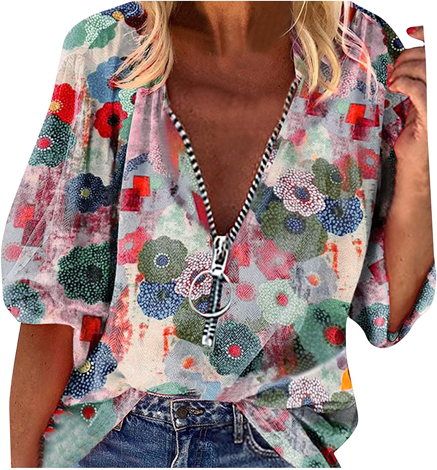 Summer Tops for Women Casual Short Sleeve Summer Tshirt Sexy Zipper V Neck Blouse Fashion Tunic Tops Plus Size