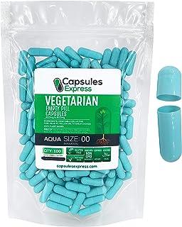 Capsules Express- Size 00 Aqua Empty Vegan Capsules - Vegetarian/Vegetable Pill Capsule - DIY Powder Fillin...