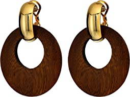 Dark Wood Hoop with Polished Gold Clutchless Pierced Earrings