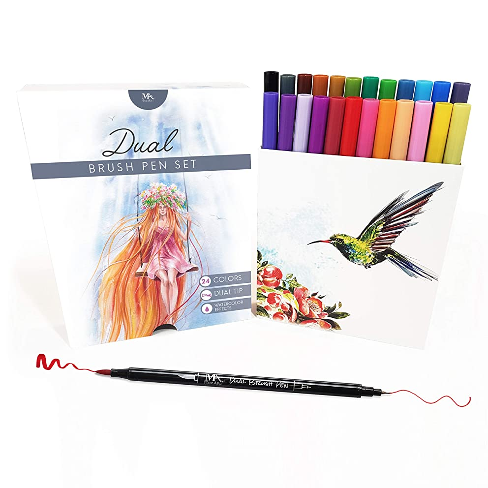 Dual Tip Brush Pen Marker Set - 24 Colors - Flexible Brush & Fineliner Tips - Watercolor Effects - Markers perfect for Adult Coloring Books, Manga, Calligraphy, Hand Lettering, Bullet Journal Pens