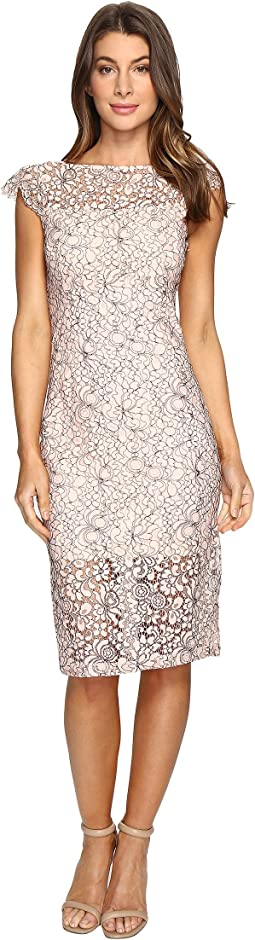 Jessica Simpson - Two-Tone Floral Lace Midi Dress