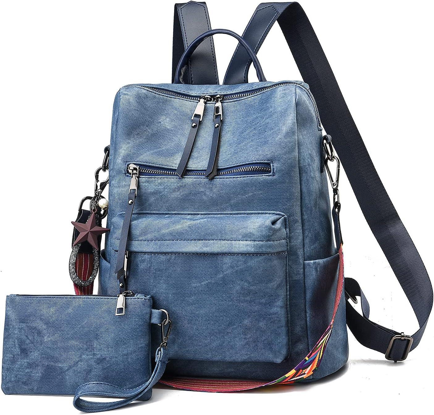 Women's Fashion Backpack Purse(2021 new)Day Packs Satchel Handbags and Shoulder Bag PU Leather Travel bag (A-denim blue)