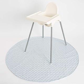"""BooginHead SplatMat 52"""" Extra Large Waterproof Floor Mat for Under High Chair, Blue Feather"""