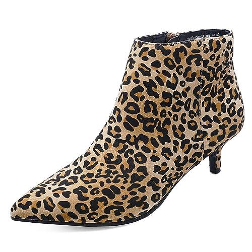 8b48ac11da Ladies Leopard Zip-Up Wide-Fit Kitten Low Heel Faux Suede Ankle Boots Work