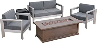 Great Deal Furniture Mike Outdoor 4-Seater Aluminum Chat Set with Fire Pit and Tank Holder, Silver with Gray and Brown with Wood Pattern