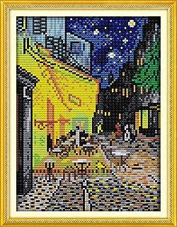 YEESAM ART New Cross Stitch Kits Advanced Patterns for Beginners Kids Adults - Van Gogh Coffee Shop 11 CT Stamped 24×35 cm - DIY Needlework Wedding Christmas Gifts
