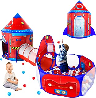 3 Piece Rocketship Kids Tent with Ball Pit for Toddler and Baby Tunnel, Spaceship Pop Up Play Tent for Boys and Girls Rock...
