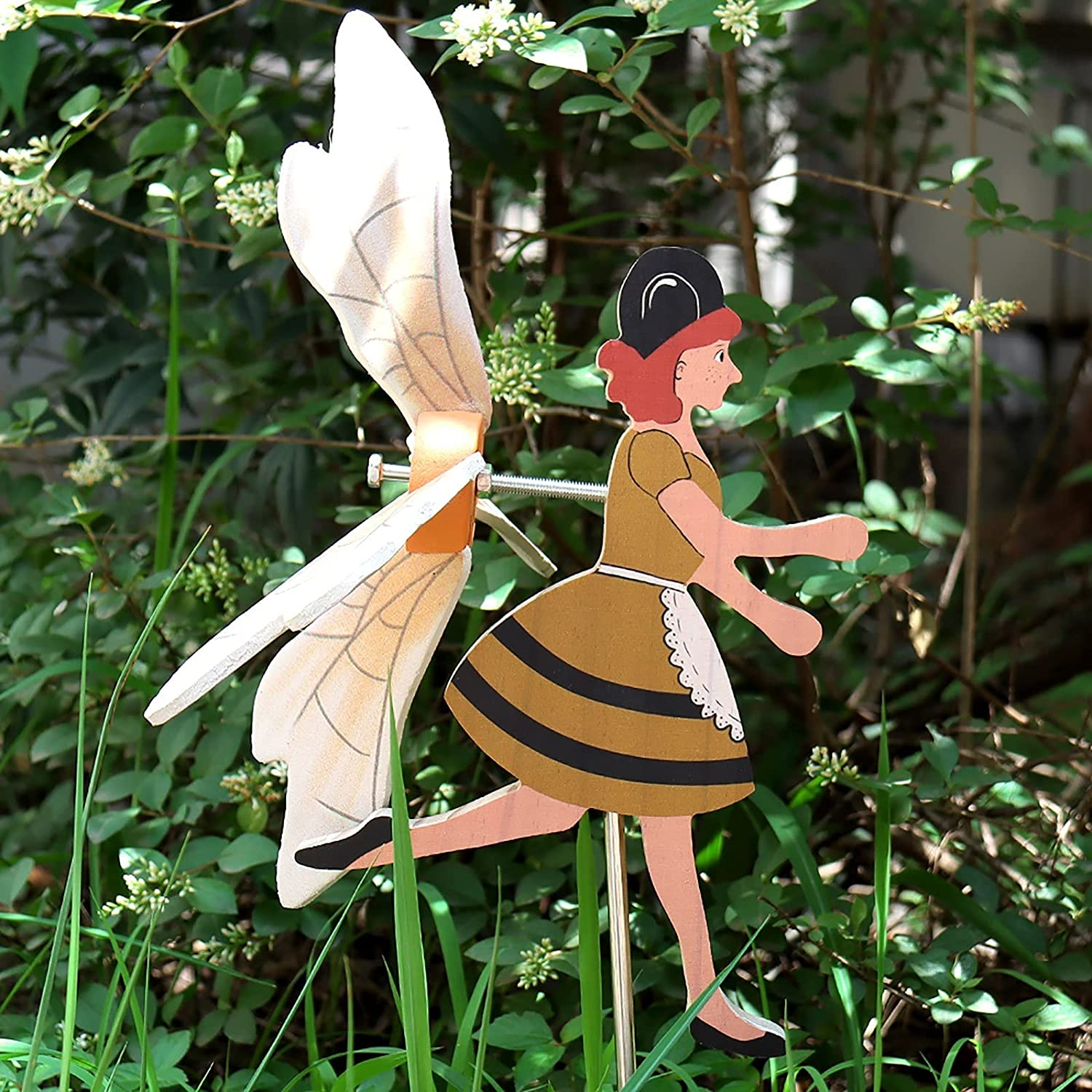 Miss Bee Garden Decor Whirligigs Wind Spinners Garden Spinner with Stable Wood Pile Flying Bird Garden Windmill Art Outdoor Decor Outdoor Patio Ornaments Outdoor Lawn Yard Patio Decor Accessories