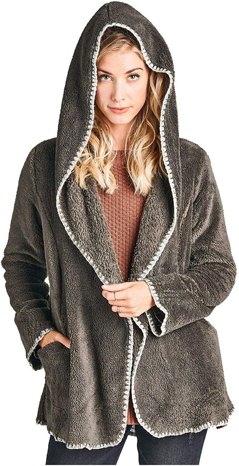 Nyteez Women's Hooded Faux Fur Jacket with Contrast Blanket Stitching