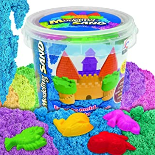 DUUTY Kinetic Play Sand Moldable Beach Magic Sand Set Colored Play Sand 1.8lbs + 4pcs Molds for Kids Creative Playing,Colo...
