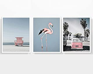 Pink Beach Themed Photography Prints, Set of 3, Unframed, Coastal Lifeguard Stand, Ww Bus, Pink Flamingo, Wall Art Decor Poster Signs, All Sizes