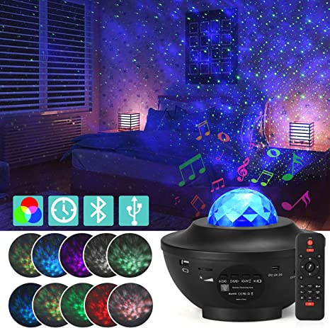 Amazon Com Galaxy Star Projector Starry Projector Light With 21 Lighting Modes With Remote Control Built In Music Player Ocean Wave Star Projector Led Nebula Cloud As Gifts For Kids Adults For Bedroom Home Improvement