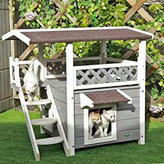 Petsfit Outdoor Cat House with Escape Door and Stairs, 1-Year Warranty