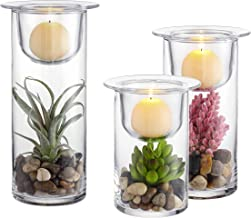 Special Cylinder Glass Candle/Succulent Holder with Decorative Cobblestones and Artifical Plants - Set of 3 (3 Dimensions)...