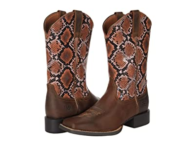 Ariat Round Up Wide Square Toe H2O (Tan Bomber/Pink Snake) Women