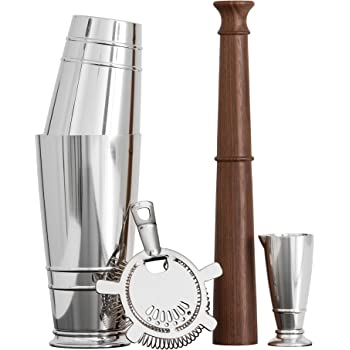 Crafthouse by Fortessa Professional Barware/Bar Tools by Charles Joly, Boston Shaker Gift Set, Silver