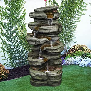 Naturefalls 30.7inches Outdoor Water Fountain - 6-Tiers Rock Waterfall Fountain with Led Lights for Home Garden Decor