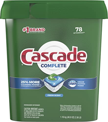 Cascade Complete Dishwasher Pods, ActionPacs Dishwasher Detergent Tabs, Fresh Scent, 78 Count (Packaging May Vary)