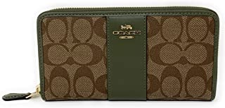 COACH WOMENS ACCORDION ZIP WALLET IN SIGNATURE CANVAS COACH F54630 KHAKI/MILITARY GREEN/GOLD