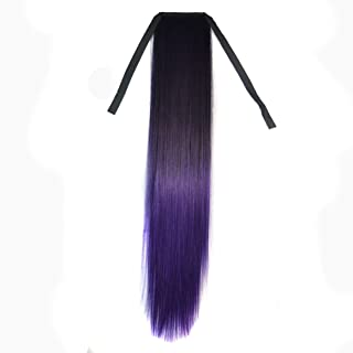 CXYP 22 Inch Ombre Straight Synthetic Ponytail Extension Wrap Around Synthetic Ponytail Clip in Hair Extensions (black dark-light purple)