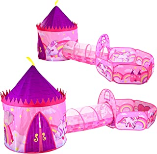 JOYIN Girls Princess Play Tent Pink Unicorn Design Tent with Tunnel and Playhouse Set for Indoor and Outdoor Kids Pretend ...