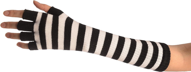 White & Black Stripes Fingerless Gloves - Gloves