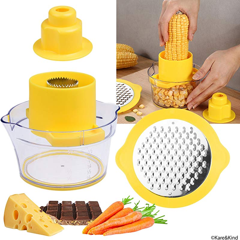Corn Stripper Potato Peeler And Fruit Vegetable Chocolate Grater With Measuring Bowl Space Saving Design Non Slip Silicone Bottom Dishwasher Safe No Electricity No Noise
