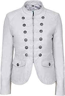 Victory Ladies White Military Parade Style Soft Real Nappa Leather Jacket 8976