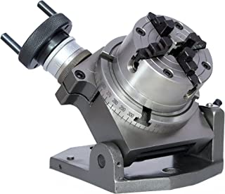 """New 4""""(100 mm) Tilting Rotary Table + 80 mm Chuck Independent 4 Jaws + Back Plate+ Tnuts for Milling Machines"""
