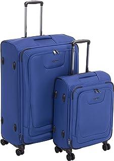 Amazon Basics 2 Piece Expandable Softside Spinner Luggage Suitcase With TSA Lock And Wheels Set - Blue