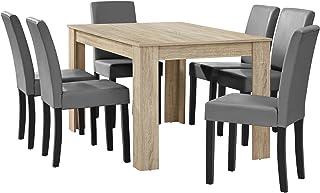 [en.casa] Table à Manger chêne Brilliant avec 6 chaises Gris Brilliant Cuir-synthétique rembourré140x90