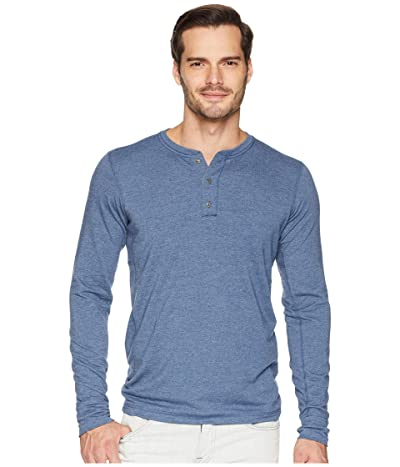 The North Face Long Sleeve TNF Terry Henley (Shady Blue Heather) Men
