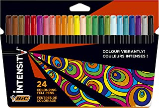 BIC Kids Visa Colouring Felt Pens - Assorted Colours, Pack of 24