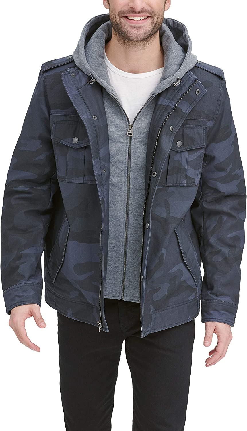 Levi's Men's Washed Cotton Military 2021 model Jacket Arlington Mall Removable Hood with