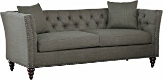 Homelegance Marceau Tuxedo Style Sofa with Flared Arm and Double Nailhead Accent, Button Tufted with Two Toss Pillows, Gray