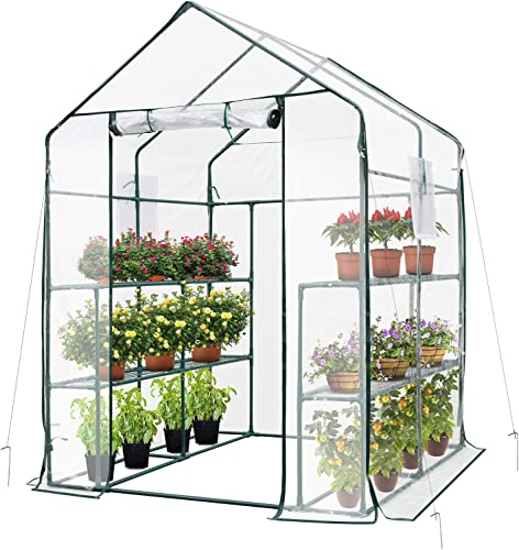 discount VIVOSUN 57x57x77-Inch Transparent Mini Walk-in Green 2021 House with Window and Anchor, Plant Garden wholesale Hot House 2 Tiers 8 Shelves outlet sale