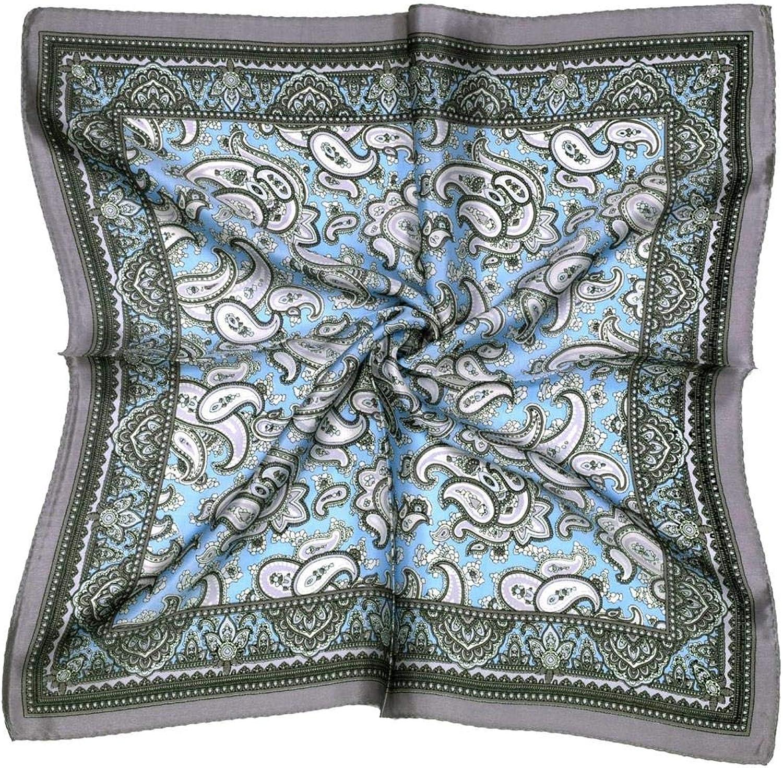 bluee grey paisley print small silk square scarf