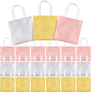 Whaline 24 Pieces 8''x8'' Non-Woven Party Bags, Small Glossy Tote Bags with Handles, Reusable Grocery Bag,Gift Bag,DIY Craft Bag,Goodies Bag, for Event, Wedding, Birthday (Rose Gold, Golden, Silver)