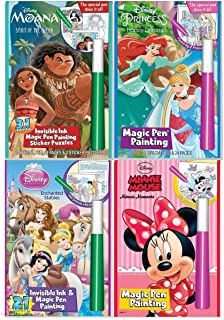 Disney Characters Invisible Ink Magic Pen Painting for Girls with Zipafile Zipper Bag. Includes: Moana Spirit of the ocean, Princess Happy Dreams and Enchanted Stable, Minnie Moments coloring books.