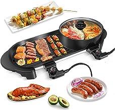 Gril électrique Portable,BITOWAT Fondue Chinoise & Barbecue Electrique,2 in 1 Plancha Electrique Et Hot Pot 5 Niveaux Régl...