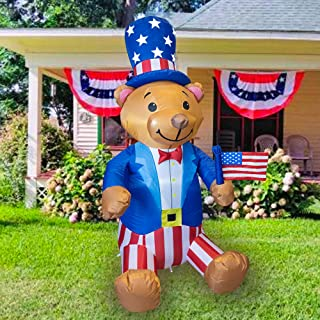 FUNPENY 5 FT Inflatable Decorations for Outside, Outdoors, Blow Up Sam Uncle Halloween Christmas Decor for Holiday Yard In...