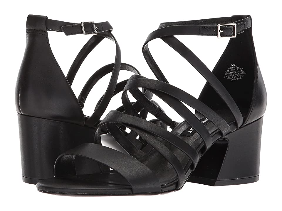 Nine West Youlo Strappy Block Heel Sandal (Black Leather) Women