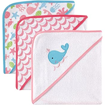 Luvable Friends Unisex Baby Cotton Terry Hooded Towels, Pink, One Size