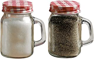 Circleware 66743 Mini Mason Jar Mug Glass Salt and Pepper Shakers with Metal Lids, Serving Food Container Glassware Dispensers Perfect for Himalayan Seasoning Herbs Spices, 5 oz, Red
